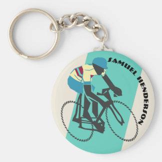 Cyklist (turkos) rund nyckelring
