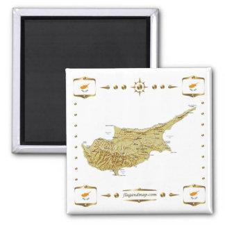 Cypern karta + Flaggormagnet Magnet
