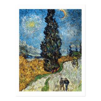 Cypress mot en Starry himmel av Vincent Van Gogh Vykort