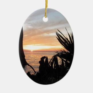 Cypress solnedgång julgransprydnad keramik