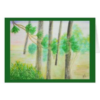 Cypress träd i dimmig solnedgångvattenfärg hälsningskort