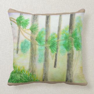 Cypress träd i dimmig solnedgångvattenfärg kudde