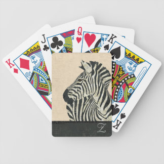 Däck för kort för vintagesebraMonogram Spelkort