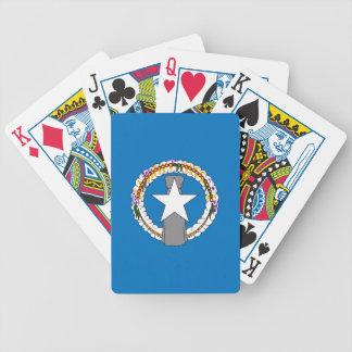 Däck som leker kort med flagga av nordliga Mariana Spel Kort