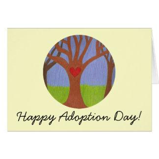 Dag för adoption för adoptionträd lycklig! hälsningskort