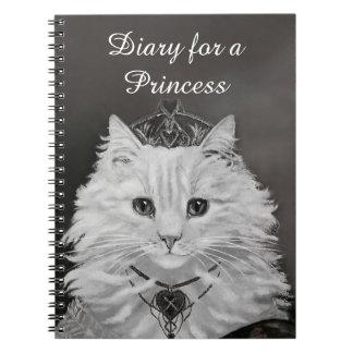 Dagbok för en Princess - kattdrottning av hjärtor Anteckningsbok Med Spiral