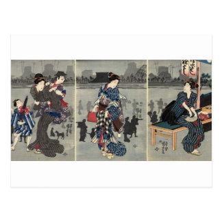 Dagligen japanskt liv circa 1800's vykort