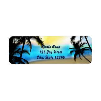 Dagstrand & tropisk adressetiketter för palmträd