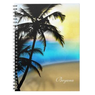 Dagstrand & tropisk anteckningsbok för palmträd