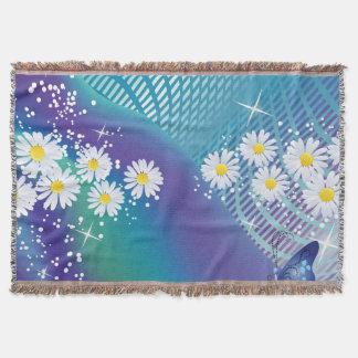 Daisy blomma-på filten för blåttbakgrundskast filt