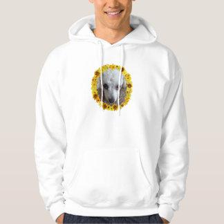 Daisy för hund för vittekopppudel sweatshirt med luva