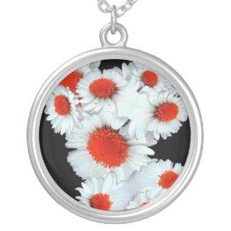 Daisy i rött silverpläterat halsband