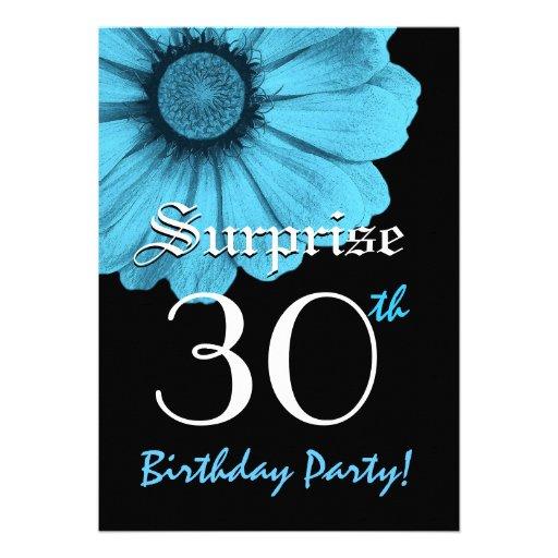 Daisy N220A för blått för ÖVERRRAKNING30års födels Skräddarsydda Inbjudan