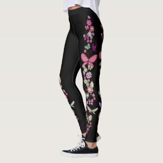 Daisy och pastellfärgat blom- tryck för fjärilar leggings