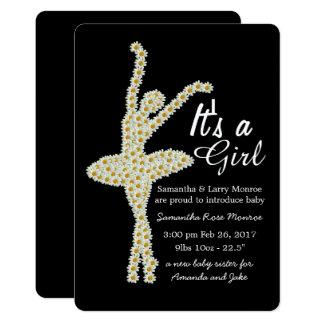 Daisyballerinaen är det en flicka, nyfödd 12,7 x 17,8 cm inbjudningskort