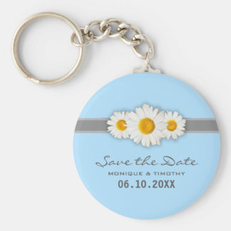 Daisyband - blått som gifta sig Keychain, sparar Rund Nyckelring