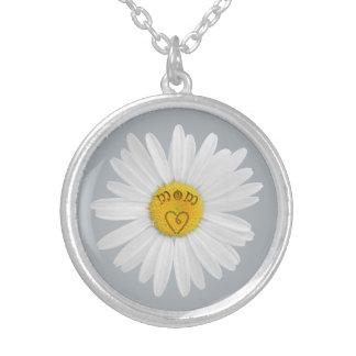 Daisyblomman för mammakonst skräddarsy bakgrund silverpläterat halsband