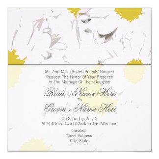 Daisybröllopinbjudan - från brud föräldrar fyrkantigt 13,3 cm inbjudningskort