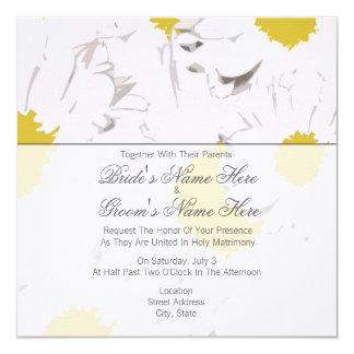 Daisybröllopinbjudan - samman med föräldrar fyrkantigt 13,3 cm inbjudningskort
