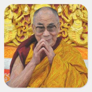 Dalai Lama Buddha buddistisk buddismmeditation Fyrkantigt Klistermärke