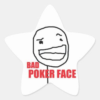 Dåligapokeransikte Stjärnformat Klistermärke