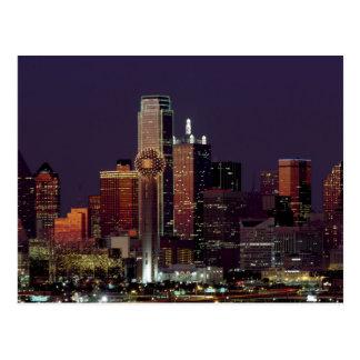 Dallas horisont på natten vykort