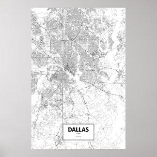 Dallas Texas (svarten på vit) Poster