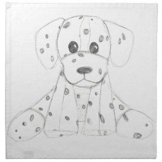 dalmatian för vit för enkla hundklotterungar svart tygservett