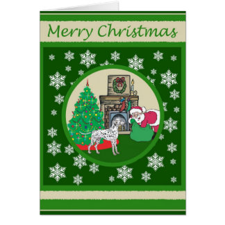 Dalmatian gammalmodig jul hälsningskort