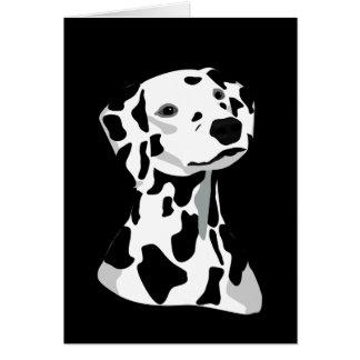 Dalmatian svart för hundhälsningkort hälsningskort