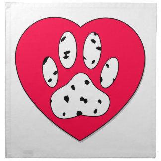 Dalmatian tasstryck i röd hjärta tygservett
