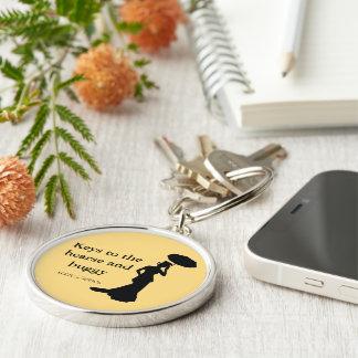 Dam av aska Keychain, Rnd guld, - nycklar till Rund Silverfärgad Nyckelring