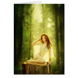 Dam av den förtrollade skogen hälsningskort