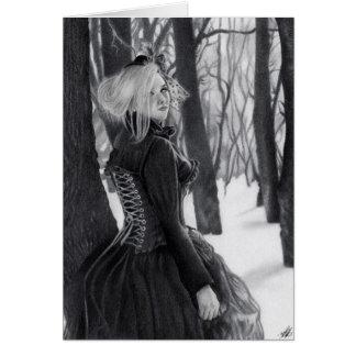 Dam av för Steampunk för vinter det gotiska kortet Hälsningskort