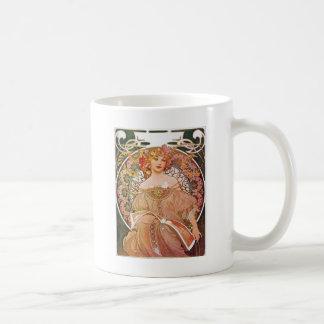 Dam för art nouveau för Alphonse Mucha Kaffemugg