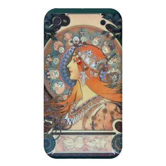 Dam för konst för vintage för art déco för Mucha Z iPhone 4 Skal