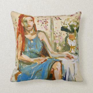 Dam i dekorativ kudde för blåttoljemålningpapper