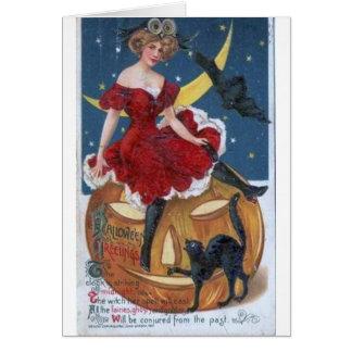 Dam i det röda Halloween kortet Hälsningskort