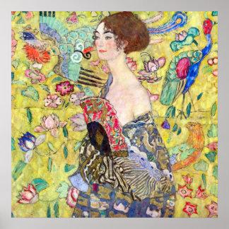 Dam med fläkten av Gustav Klimt, vintageJaponism Poster