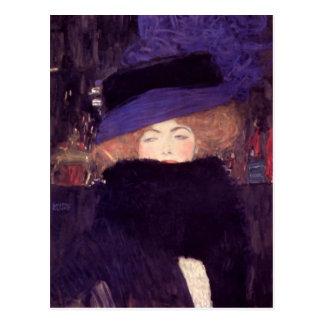 Dam med hatten och Boa av Gustav Klimt Vykort