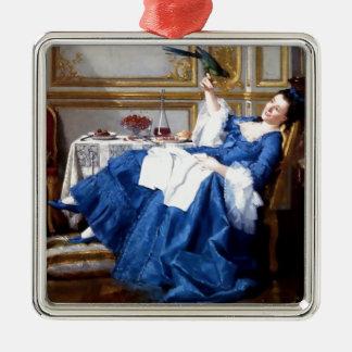 Dam med henne antik målning för älsklings- fågel julgransprydnad metall