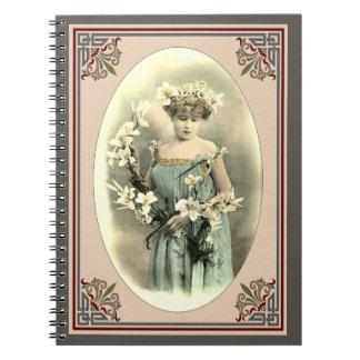 Dam med liljar anteckningsbok