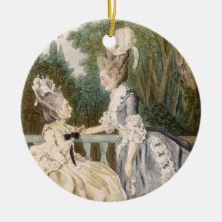 Dam morgonklänning, 1771 (färggravyr) julgransprydnad keramik