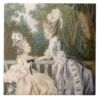 Dam morgonklänning, 1771 (färggravyr) kakelplatta