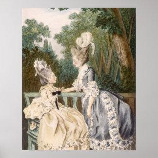 Dam morgonklänning, 1771 (färggravyr) poster