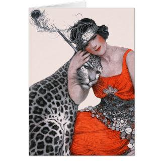 Dam och Leopard Hälsningskort