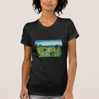 Dam tshirt med sjölandskapkonst t-shirts