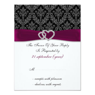 damask diamante pink wedding RSVP Personalized Announcements