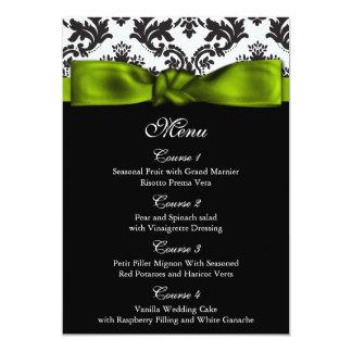 damask green wedding menu personalized invitation