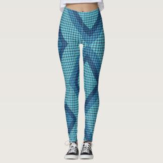 Damasker för blåttväv- och diamantmönster leggings